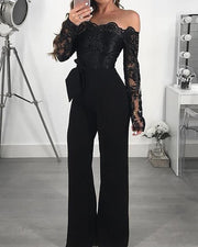 Off Shoulder Guipure Lace Bodice Jumpsuit - Shop Shiningbabe - Womens Fashion Online Shopping Offering Huge Discounts on Shoes - Heels, Sandals, Boots, Slippers; Clothing - Tops, Dresses, Jumpsuits, and More.