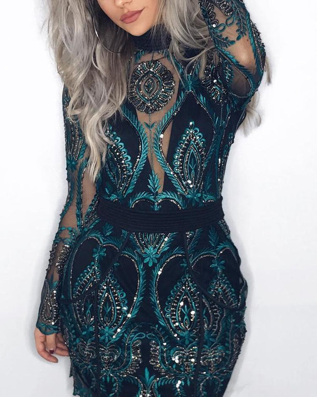 Sheer Mesh Lace Insert Party Dress - Shop Shiningbabe - Womens Fashion Online Shopping Offering Huge Discounts on Shoes - Heels, Sandals, Boots, Slippers; Clothing - Tops, Dresses, Jumpsuits, and More.