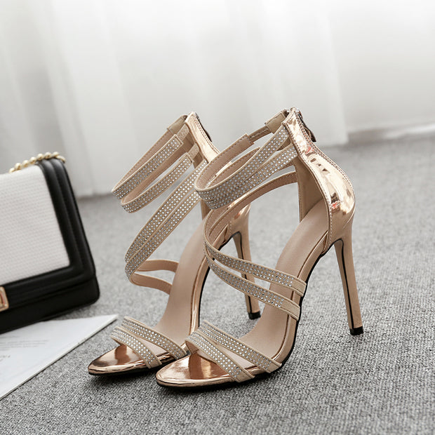 Rhinestone Strappy Pointed High Heels - Shop Shiningbabe - Womens Fashion Online Shopping Offering Huge Discounts on Shoes - Heels, Sandals, Boots, Slippers; Clothing - Tops, Dresses, Jumpsuits, and More.