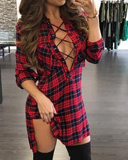 Plaid Lace-Up Side Slit Shirt Dress - Shop Shiningbabe - Womens Fashion Online Shopping Offering Huge Discounts on Shoes - Heels, Sandals, Boots, Slippers; Clothing - Tops, Dresses, Jumpsuits, and More.