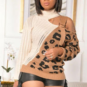 One Shoulder Leopard Print Hollow-out Sweater