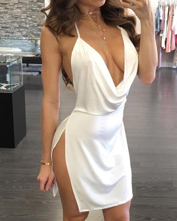 Sexy Backless Halter Neck Plunged Dress - Shop Shiningbabe - Womens Fashion Online Shopping Offering Huge Discounts on Shoes - Heels, Sandals, Boots, Slippers; Clothing - Tops, Dresses, Jumpsuits, and More.