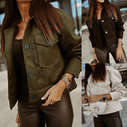 Lapel Button Pocket Long Sleeve Jacket
