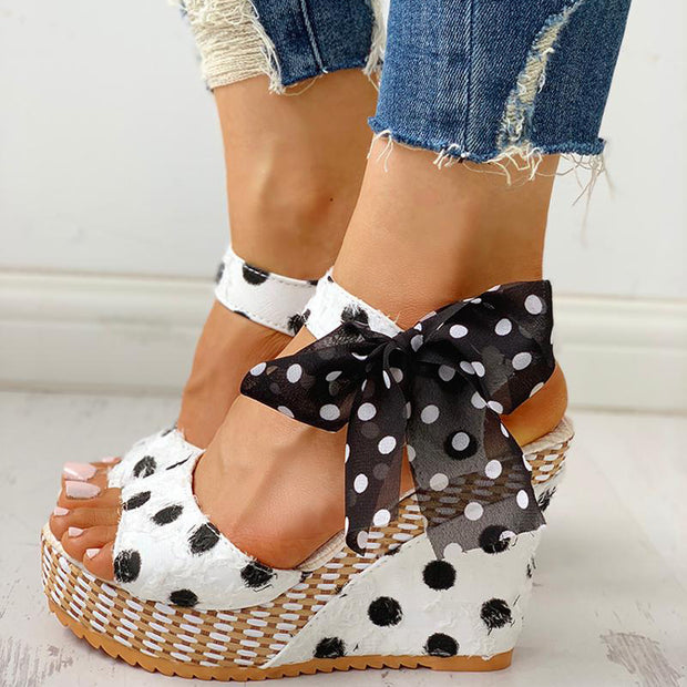 Dot Bowknot Design Platform Wedge Sandals - Shop Shiningbabe - Womens Fashion Online Shopping Offering Huge Discounts on Shoes - Heels, Sandals, Boots, Slippers; Clothing - Tops, Dresses, Jumpsuits, and More.