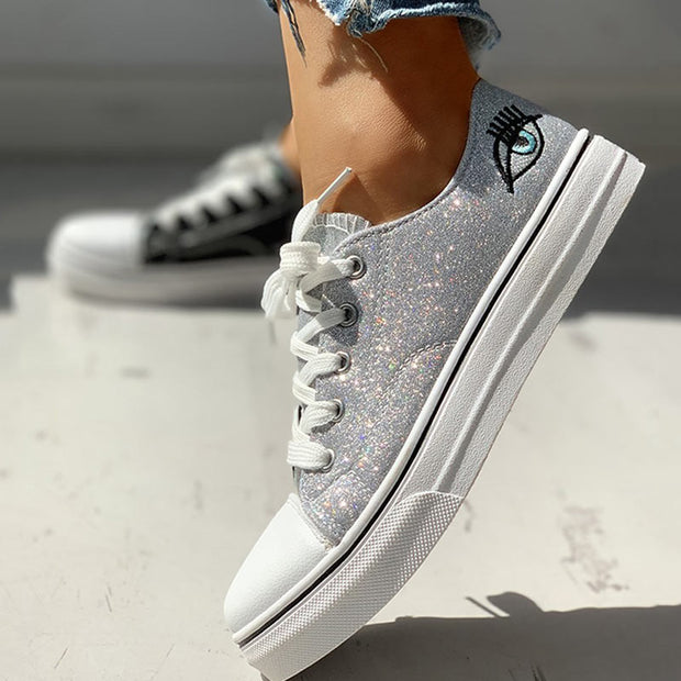 Colorblock Eyes Pattern Eyelet Lace-Up Casual Sneakers - Shop Shiningbabe - Womens Fashion Online Shopping Offering Huge Discounts on Shoes - Heels, Sandals, Boots, Slippers; Clothing - Tops, Dresses, Jumpsuits, and More.