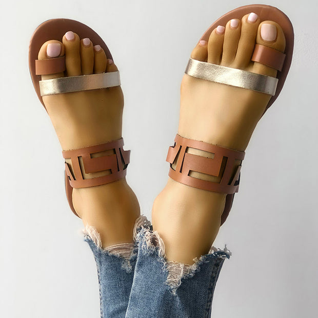 Two Tone Hollow Out Toe Ring Flat Sandals - Shop Shiningbabe - Womens Fashion Online Shopping Offering Huge Discounts on Shoes - Heels, Sandals, Boots, Slippers; Clothing - Tops, Dresses, Jumpsuits, and More.