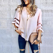 Solid Mesh Splicing Flared Half Sleeve Blouse - Shop Shiningbabe - Womens Fashion Online Shopping Offering Huge Discounts on Shoes - Heels, Sandals, Boots, Slippers; Clothing - Tops, Dresses, Jumpsuits, and More.