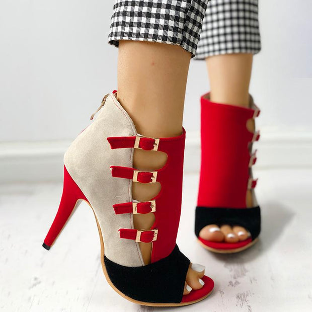 Colorblock Splicing Hollow Out Buckled Thin Heels - Shop Shiningbabe - Womens Fashion Online Shopping Offering Huge Discounts on Shoes - Heels, Sandals, Boots, Slippers; Clothing - Tops, Dresses, Jumpsuits, and More.