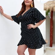 Polk Dot Print Vodycon Women Plus Size Dress - Shop Shiningbabe - Womens Fashion Online Shopping Offering Huge Discounts on Shoes - Heels, Sandals, Boots, Slippers; Clothing - Tops, Dresses, Jumpsuits, and More.