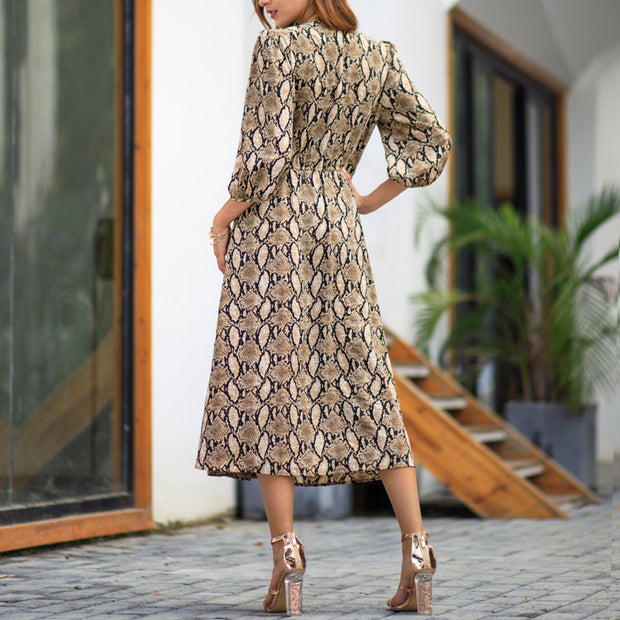 Printed Vintage Full Sleeve Dress - Shop Shiningbabe - Womens Fashion Online Shopping Offering Huge Discounts on Shoes - Heels, Sandals, Boots, Slippers; Clothing - Tops, Dresses, Jumpsuits, and More.