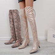 Snakeskin Pattern Pointed Toe Long Boots
