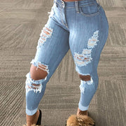 Solid Cut Out Distressed Denim Pants