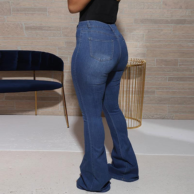 Solid High Waist Bell Bottom Denim Pants
