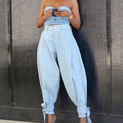 Strap Loose Casual Denim Pants