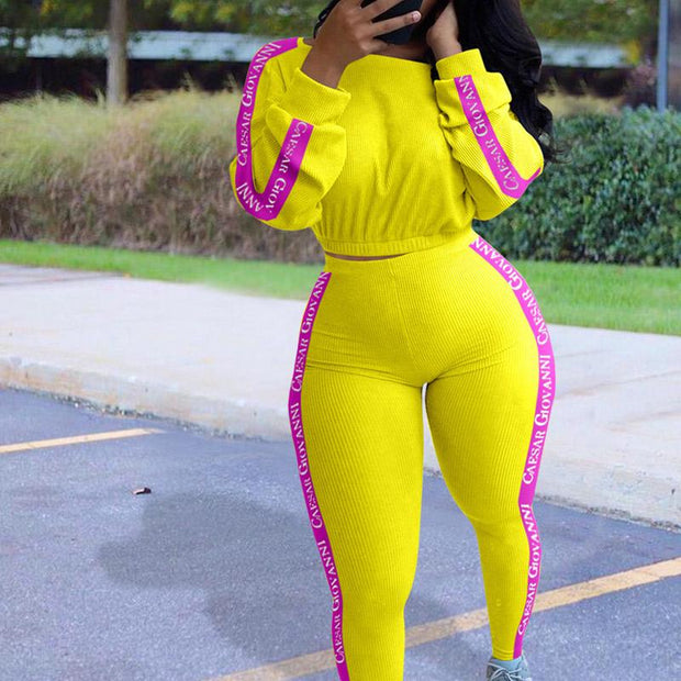 Colorblock Letter Print Long Sleeve Sports Top & Pants Suit