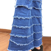 Solid Ruffles Cutout Pocket Design Denim High Waist Bell Bottom Jeans
