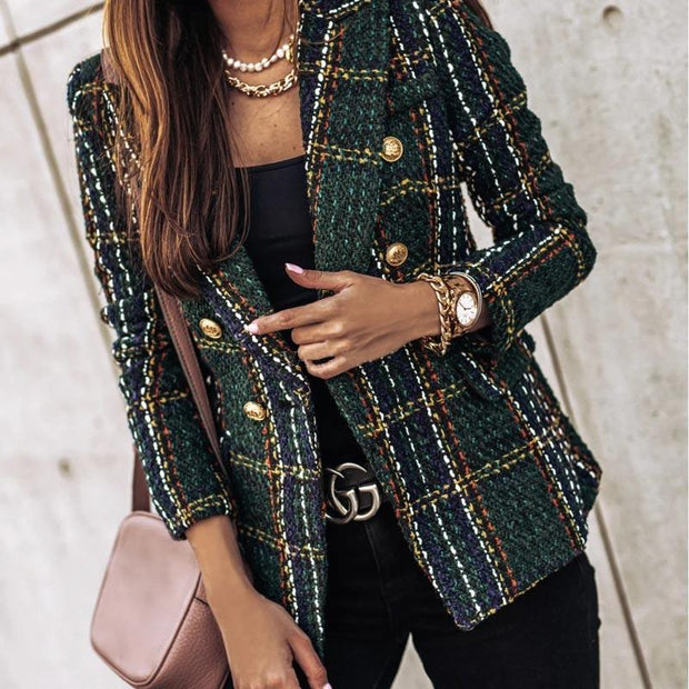 Notched Neck Plaid Double-breasted Blazer