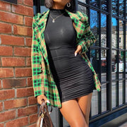 Plaid Notched Neck Blazer