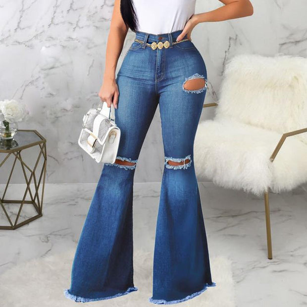 High Waist Cut Out Ripped Bell-bottomed Tassel Jeans