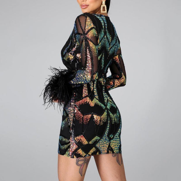 Sequins Feather Trim Long Sleeve Party Dress