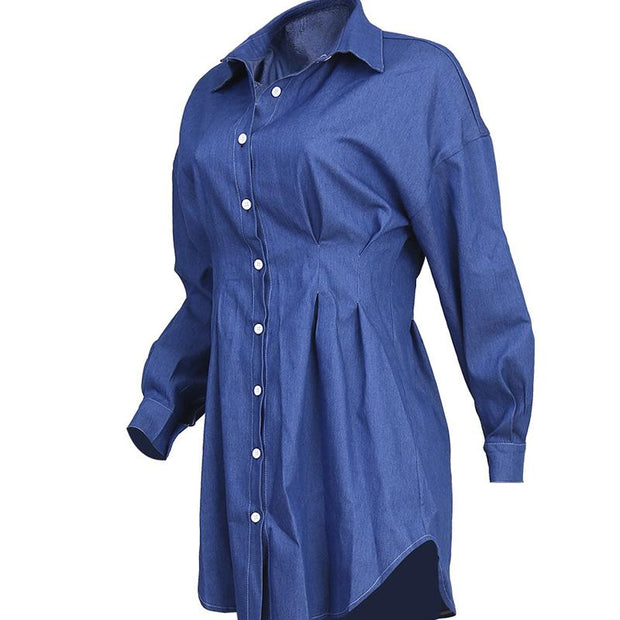 Denim Pleated Button Design Long Sleeve Shirt Dress