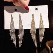 Fashion Studded Tassel Drop Long Earrings