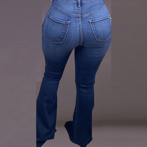 Solid Denim Hollow Out High Waist Straight Jeans
