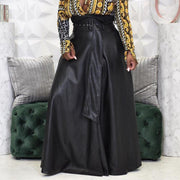 High Waist Solid PU Pleated Maxi Skirt With Belt