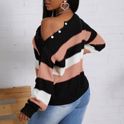 Colorblock Stripe Splicing Sweater