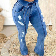 Solid Cut Out Bowknot Bell Bottom Jeans