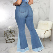 Colorblock Tassel Bell Bottom Denim Pants