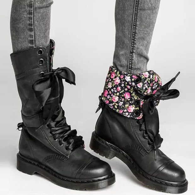 Floral Print Lace-Up PU Leather Martin Boots