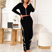 Solid V-Neck Zipper Design Long Sleeve Drawstring Ruffles Pants Set