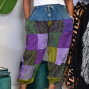 Colorblock Print Patchwork Pocket Design Drawstring Loose Pants