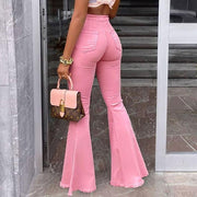 High Waist Tassel Bell Bottom Denim Pants
