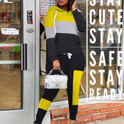 Colorblock Long Sleeve Hooded Top & Pants Set