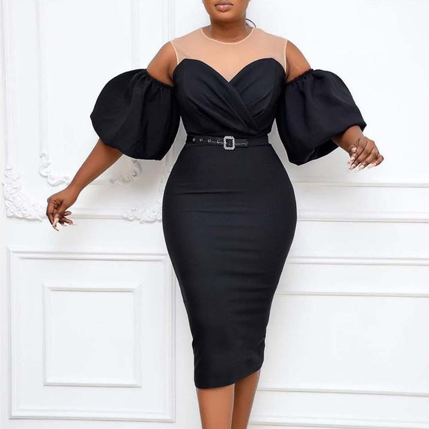 Solid Cold Shoulder Puff Sleeve Midi Dress With Belt