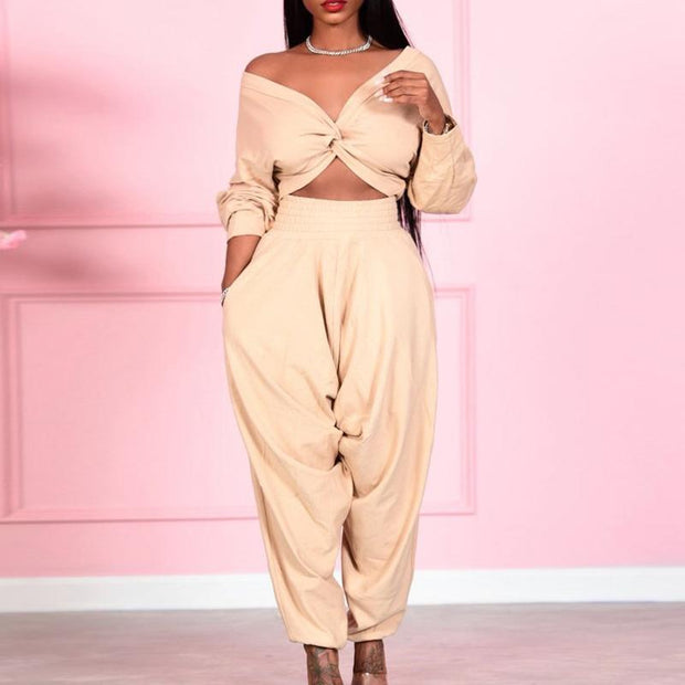 Solid Sexy Cross V-Neck Long Sleeve Top & Loose Pants Set