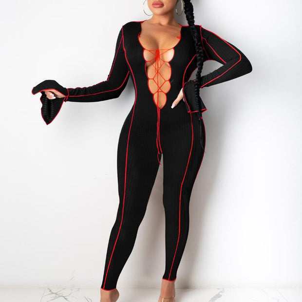 Solid Lace-Up Flared Long Sleeve Jumpsuit