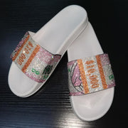 Sequins Rhinestone Money Print Slippers & Clutch Bags & Hair Bands