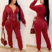 Solid V-Neck Lace Zipper Design Long Sleeve Hoodie Top & Pants Set