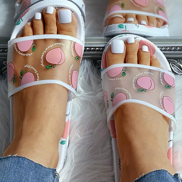 Transparent Fruit Pattern Flat Slippers - Shop Shiningbabe - Womens Fashion Online Shopping Offering Huge Discounts on Shoes - Heels, Sandals, Boots, Slippers; Clothing - Tops, Dresses, Jumpsuits, and More.