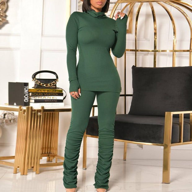 Solid Turtleneck Long Sleeve Ruched Two Piece Set