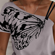 One Shoulder Butterfly Print Casual T-shirt