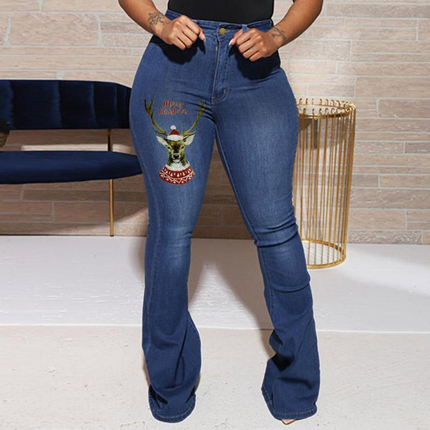 Denim Christmas Print Bell Bottom Jeans