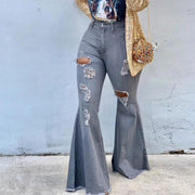 Denim Pocket Design Cutout Flared Jeans