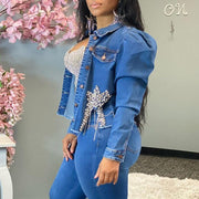 Denim Beaded Button Design Long Sleeve Coat & Pants