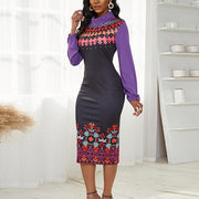 Print Patchwork Long Sleeve Casual Dress