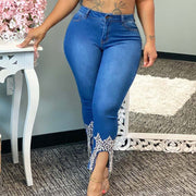 Denim Beaded Design High Waist Jeans
