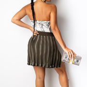 Solid Zipper Design Pleated Skirt